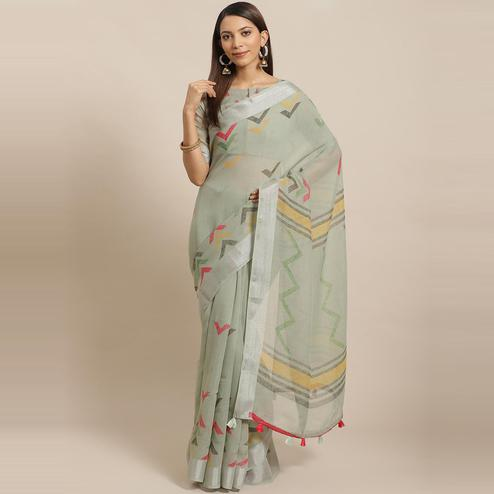 Elegant Olive Colored Casual Wear Printed Linen Saree
