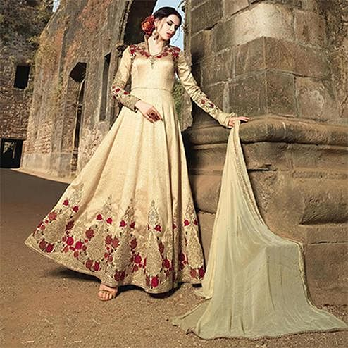Golden-Beige Banarsi Silk  Embroidered Anarkali Suit