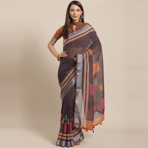 Radiant Dark Grey Colored Casual Wear Printed Linen Saree