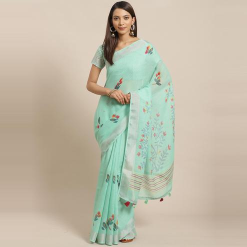 Pleasant Sea Green Colored Casual Wear Printed Linen Saree