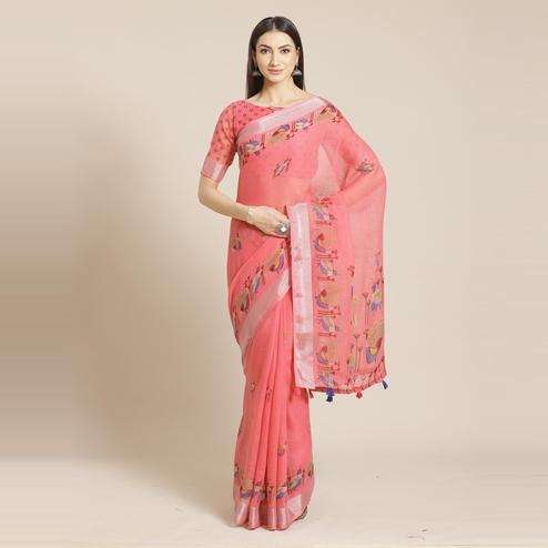 Opulent Pink Colored Casual Wear Printed Linen Saree