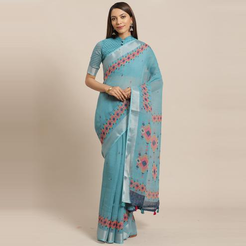 Energetic Teal Blue Colored Casual Wear Printed Linen Saree