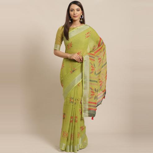 Glowing Green Colored Casual Wear Printed Linen Saree