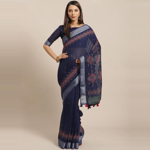 Exceptional Navy Blue Colored Casual Wear Printed Linen Saree