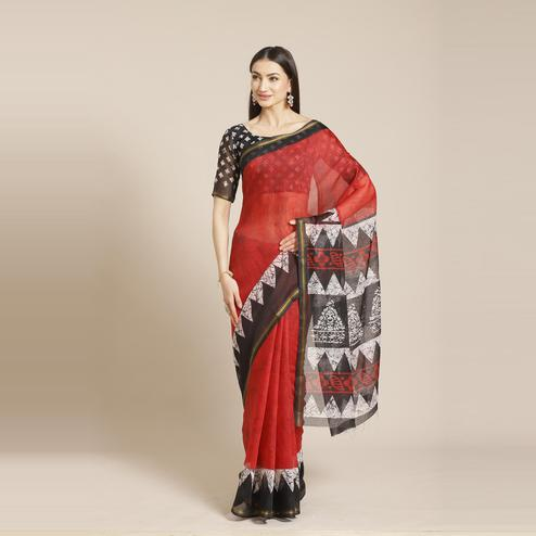 Mesmeric Red - Black Colored Casual Wear Printed Silk Blend Saree
