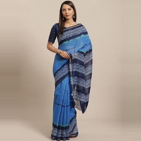 Demanding Blue - Navy Blue Colored Casual Wear Printed Silk Blend Saree