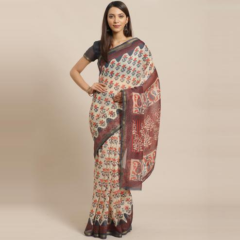 Refreshing Beige Colored Casual Wear Printed Silk Blend Saree