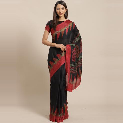 Magnetic Black Colored Casual Wear Printed Silk Blend Saree
