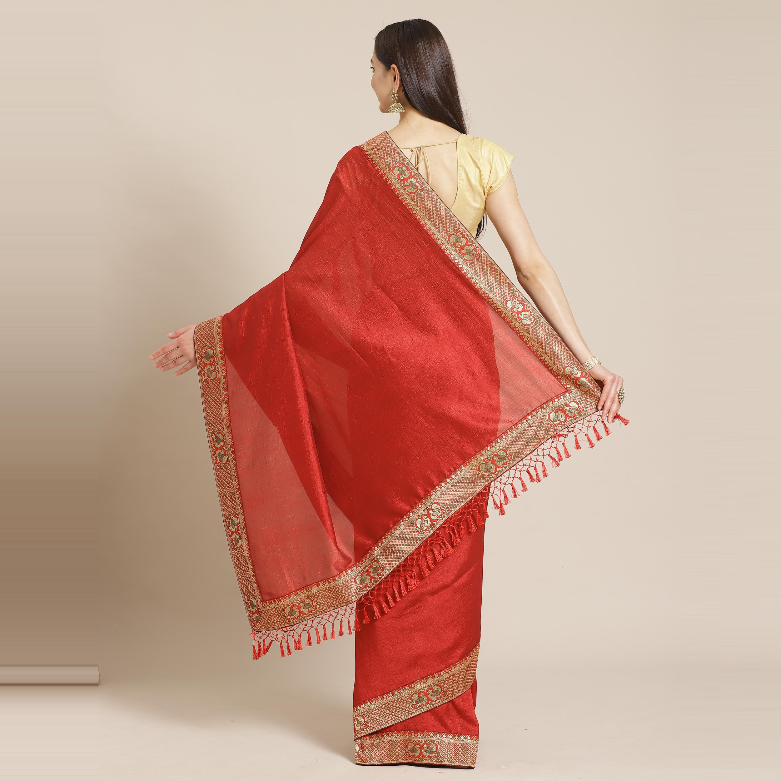 Hypnotic Red Colored Festive Woven Silk Blend Saree
