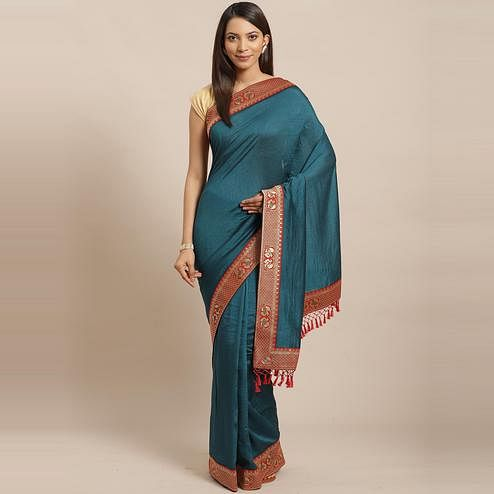 Flattering Teal Blue Colored Festive Woven Silk Blend Saree
