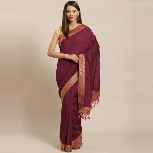 Excellent Wine Colored Festive Woven Silk Blend Saree