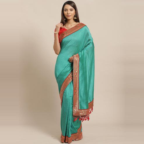 Preferable Green Colored Festive Woven Silk Blend Saree