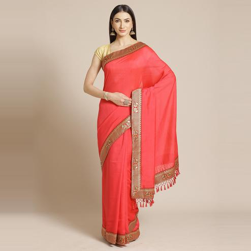 Marvellous Pink Colored Festive Woven Silk Blend Saree