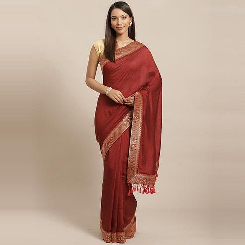 Flamboyant Brown Colored Festive Woven Silk Blend Saree