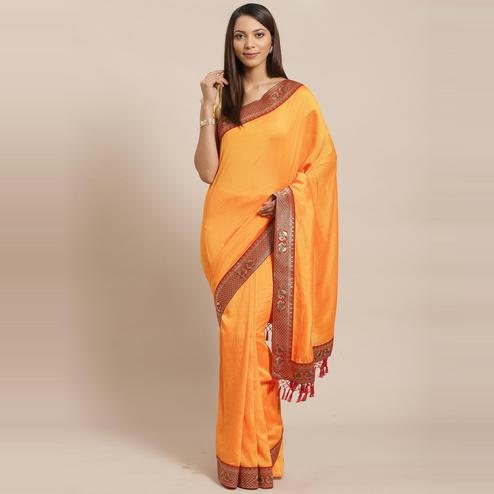Alluring Orange Colored Festive Woven Silk Blend Saree