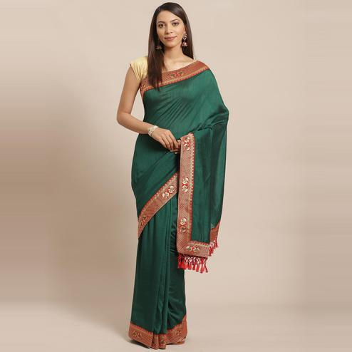 Sensational Dark Green Colored Festive Woven Silk Blend Saree