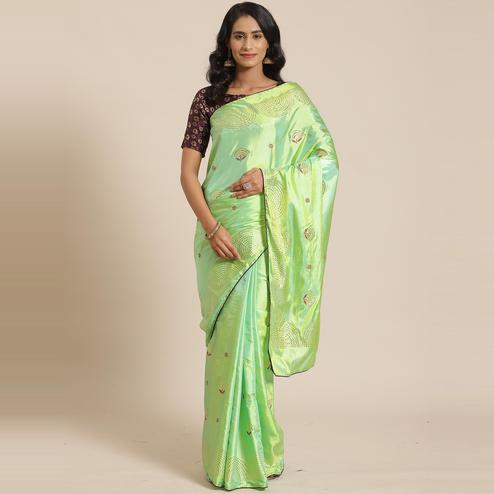 Flaunt Light Green Colored Festive Woven Silk Blend Saree