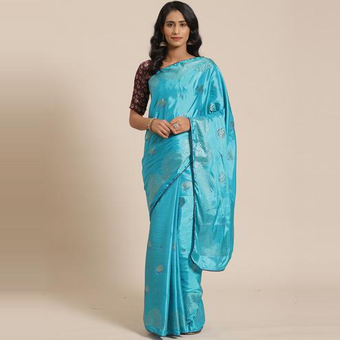 Stunning Teal Blue Colored Festive Woven Silk Blend Saree