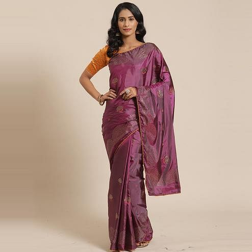 Flirty Magenta Colored Festive Woven Silk Blend Saree