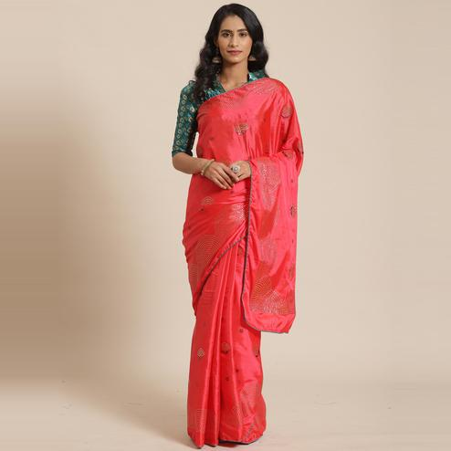 Classy Peach Colored Festive Woven Silk Blend Saree
