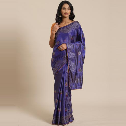 Prominent Blue Colored Festive Woven Silk Blend Saree