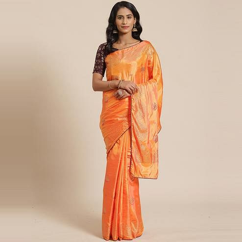 Appealing Orange Colored Festive Woven Silk Blend Saree