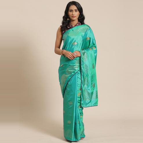 Capricious Green Colored Festive Woven Silk Blend Saree