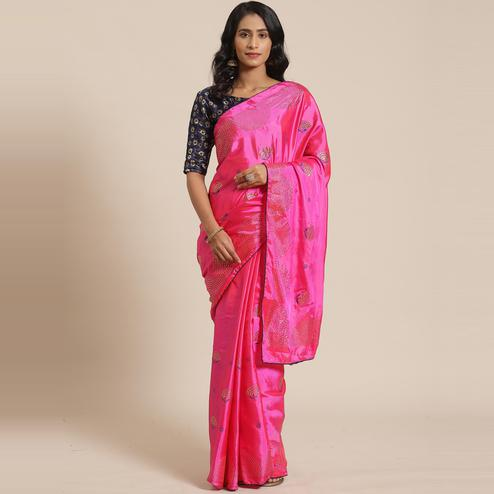 Entrancing Pink Colored Festive Woven Silk Blend Saree
