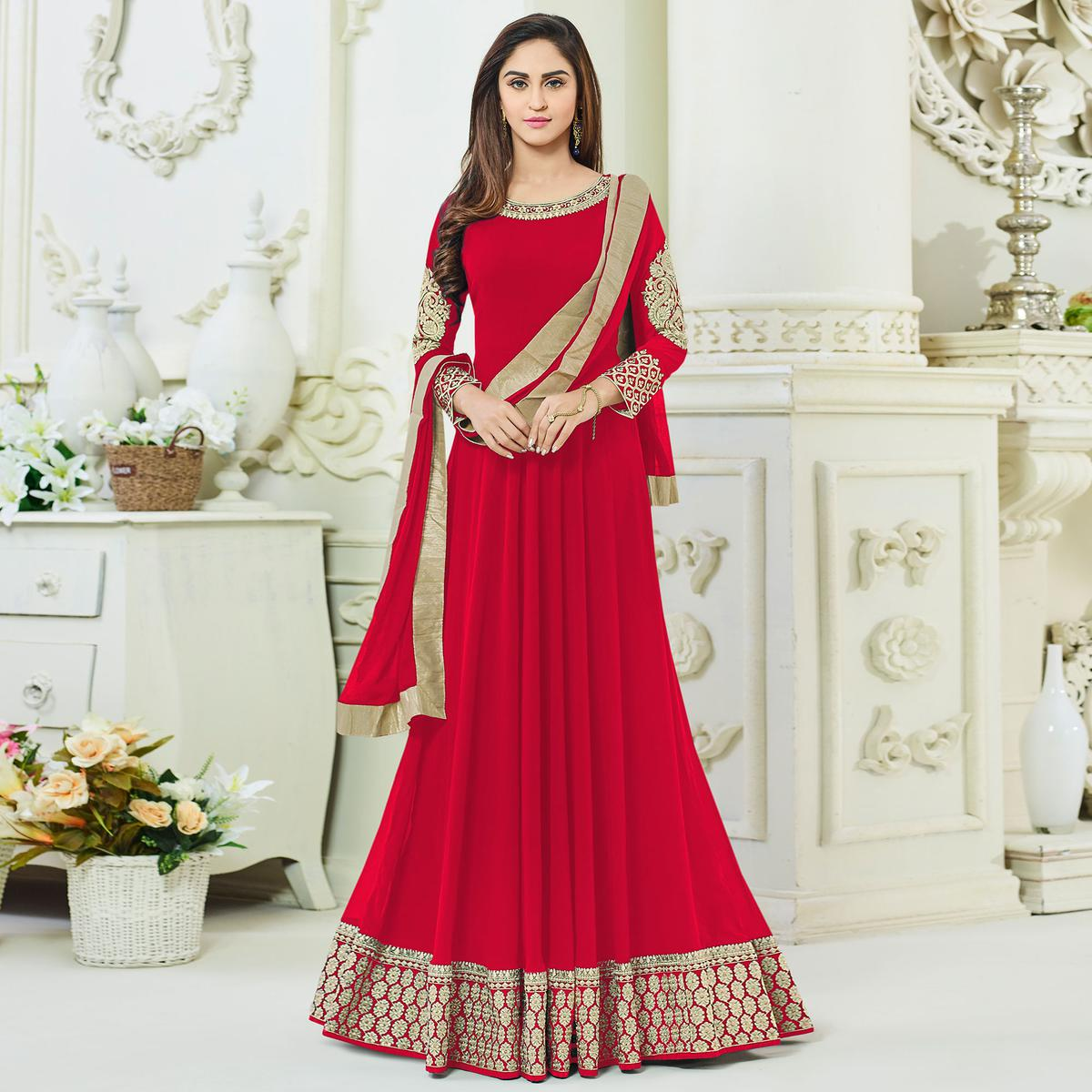 Mesmerising Red Georgette Designer Anarkali Suit