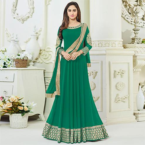 Marvellous Green Georgette Designer Anarkali Suit