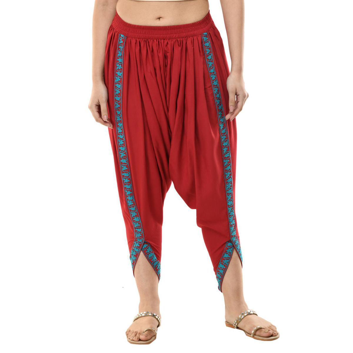 SAAKAA -  Women's Rayon Solid Embroidery Dhoti Pant (Free Size)