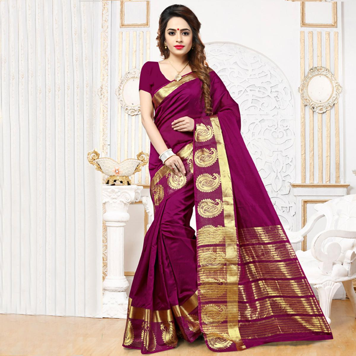 Magenta Weaving Work Silk Saree