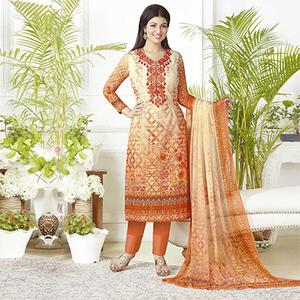 Flamboyant Orange Digital Printed Pure Lawn Cotton Dress Material