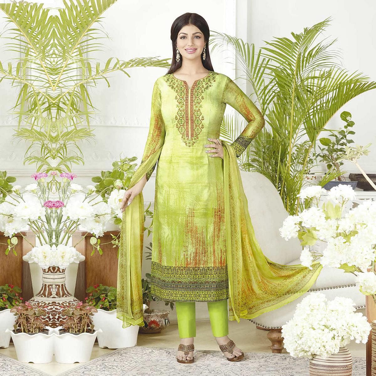 Charming Parrot Green Digital Printed Pure Lawn Cotton Dress Material