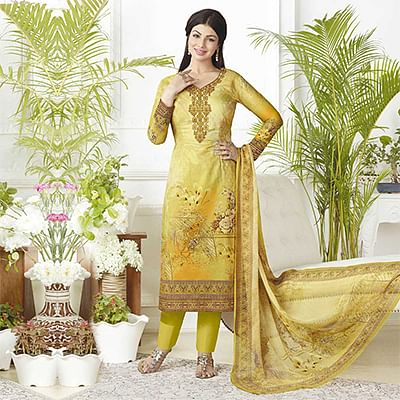 Ravishing Yellow Digital Printed Pure Lawn Cotton Dress Material