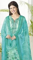Classy Turquoise Blue Digital Printed Pure Lawn Cotton Dress Material