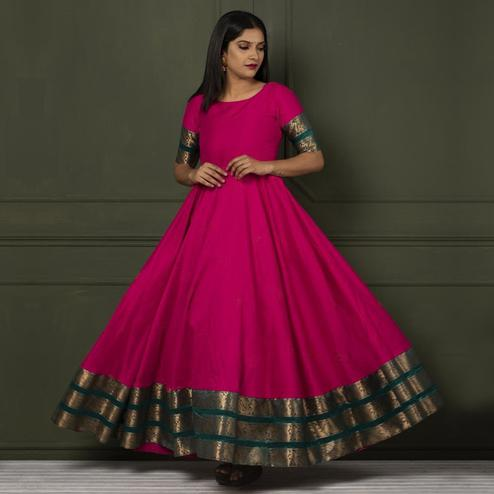 Adorable Pink Colored Festive Wear Woven Tapetta Silk Gown