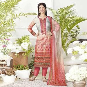 Beautiful Coral Colored Digital Printed Pure Lawn Cotton Dress Material