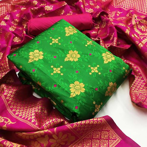 Ideal Parrot Green Colored Festive Wear Woven Banarasi Silk Dress Material