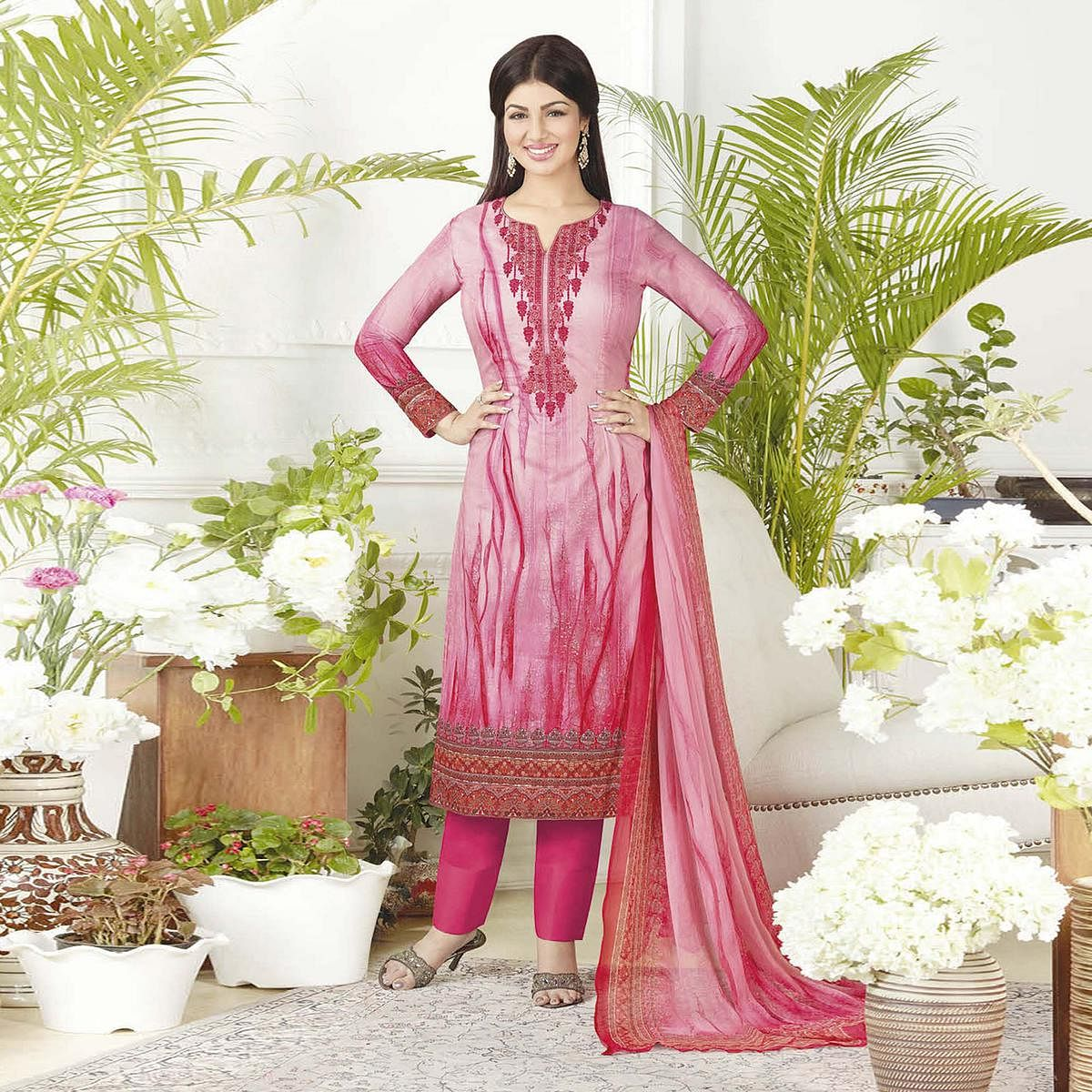 Graceful Pink Digital Printed Pure Lawn Cotton Dress Material