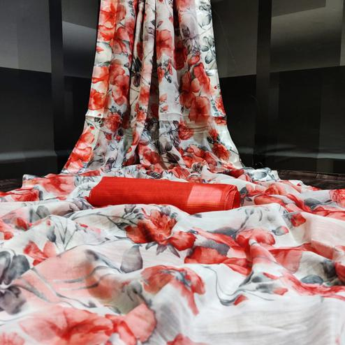 Arresting White - Red Colored Casual Wear Floral Printed Linen Saree