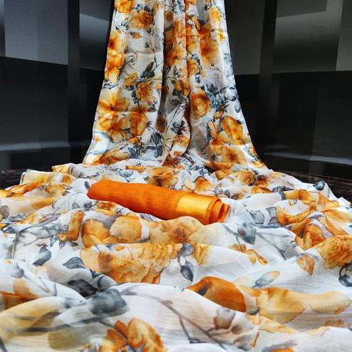 Exotic White - Orange Colored Casual Wear Floral Printed Linen Saree
