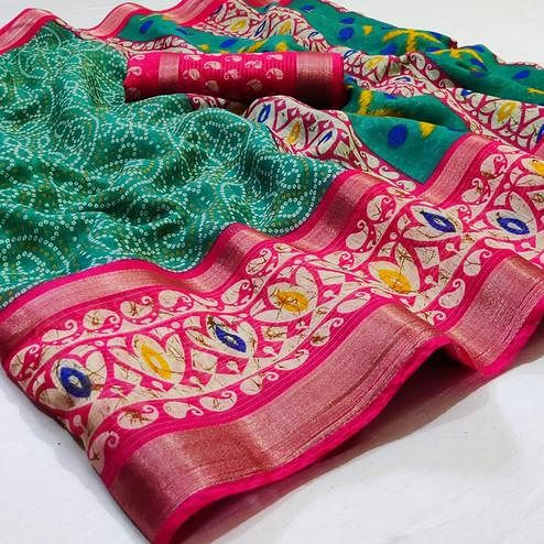 Elegant Green Colored Casual Wear Printed Cotton Saree