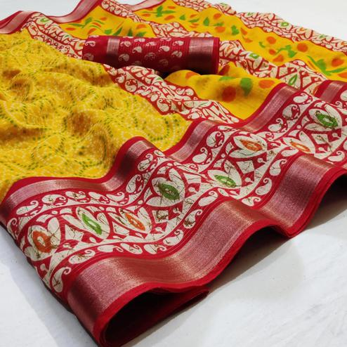 Radiant Yellow Colored Casual Wear Printed Cotton Saree