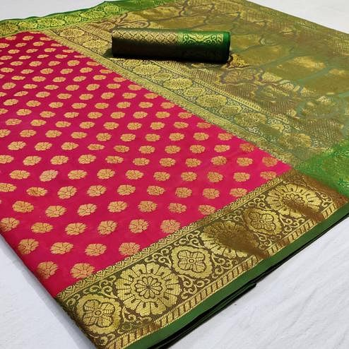 Opulent Pink Colored Festive Wear Woven Heavy Silk Saree