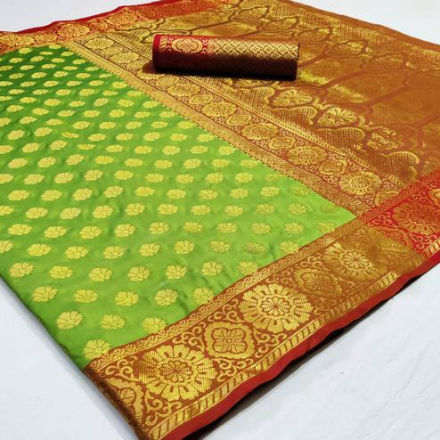 Glowing Green Colored Festive Wear Woven Heavy Silk Saree