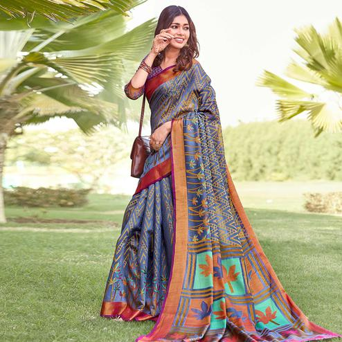 Excellent Blue Colored Partywear Printed Brasso Silk Saree