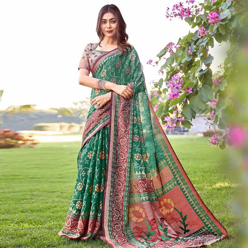 Marvellous Green Colored Partywear Printed Brasso Silk Saree