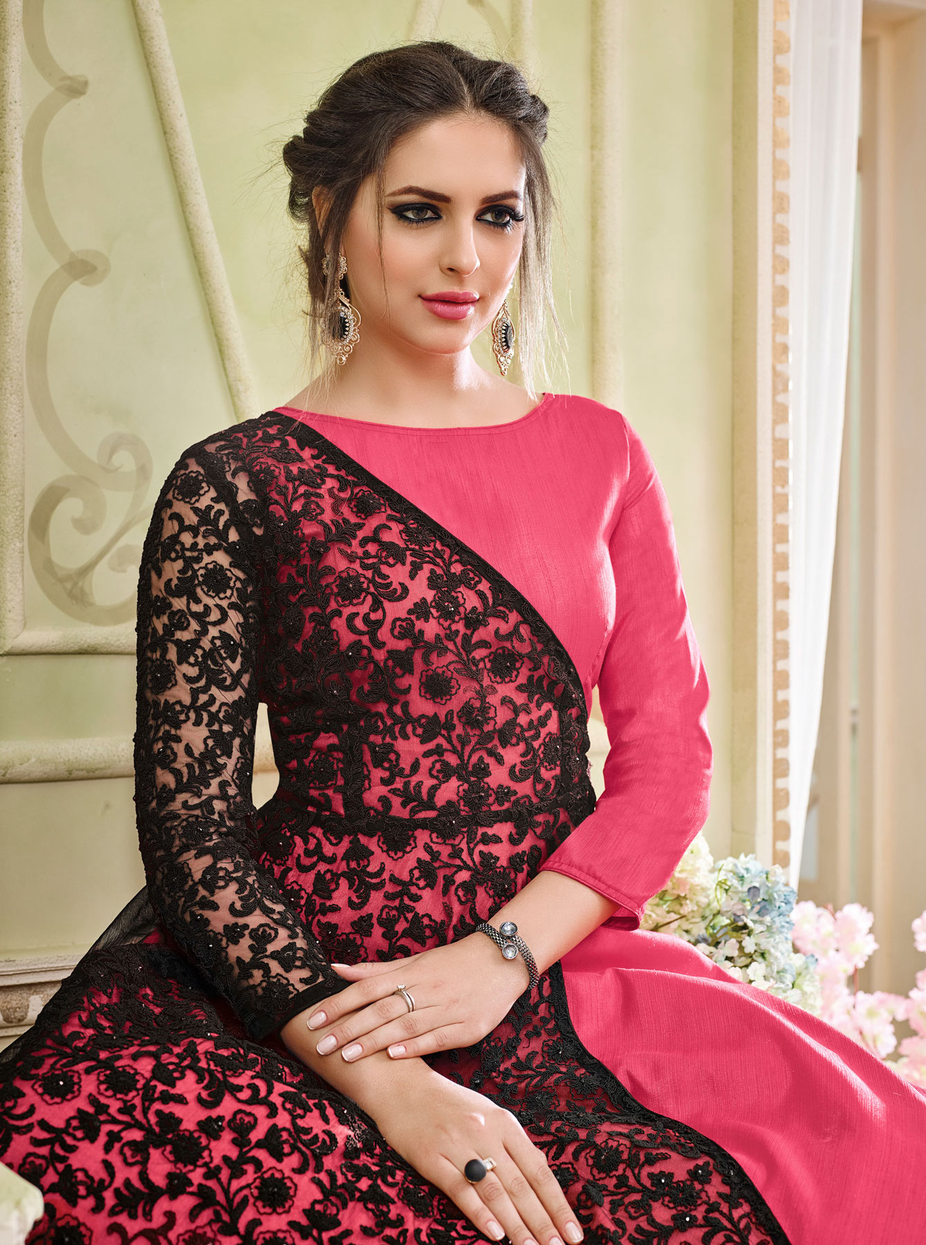 Mesmerising Pink Colored Designer Embroidered Partywear Georgette Anarkali Suit