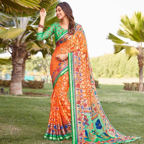 Prominent Orange Colored Festive Wear Woven Chiffon Brasso Saree
